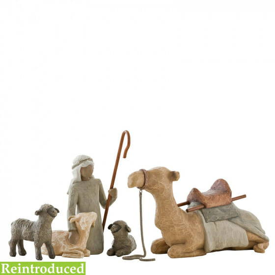 """WILLOW TREE SHEPHERD AND STABLE ANIMALS (SET 4 PCE) - 7.5""""h - 26105 SOLD OUT"""