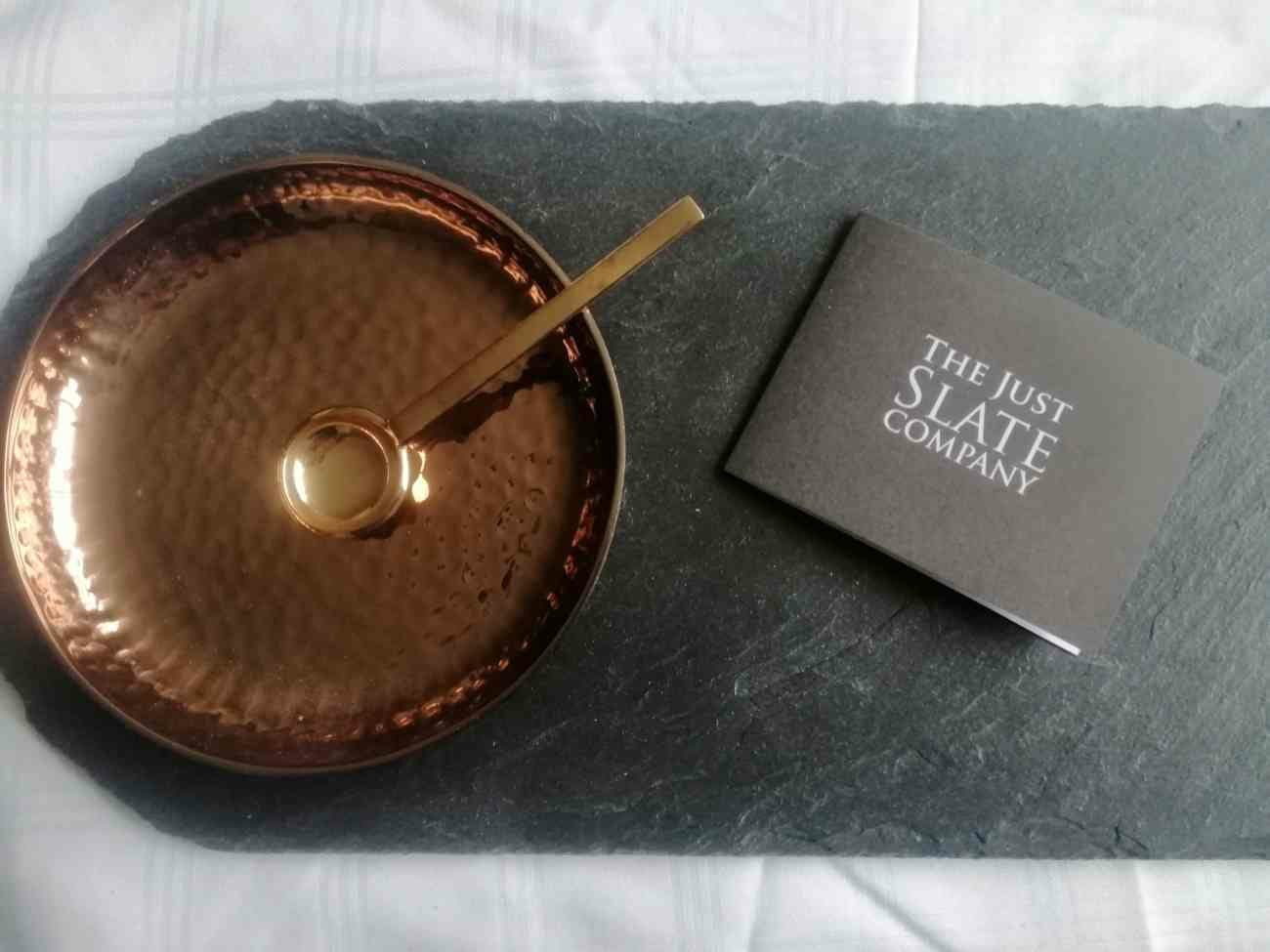JUST SLATE - SLATE SERVING PLATTER WITH COPPER CONDIMENT TRAY AND SPOON 42cm x 18cm JS/C/SP/B ( 1 only avail)